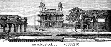 Diwan-i-khas And Court Pachisi To Fatehpur Sikri, Vintage Engraving.