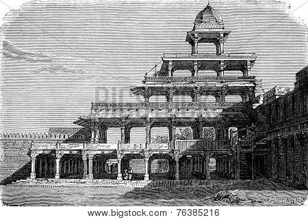The Panch Mahal In Fatehpur Sikri, Vintage Engraving.