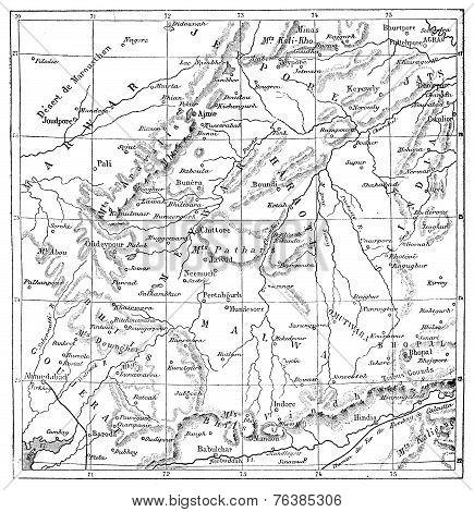Map Of Rajputs States (western Rajasthan), Vintage Engraving.