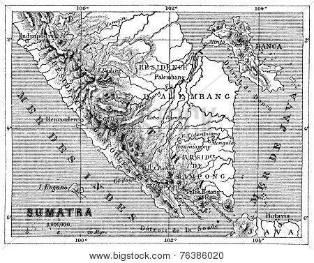 Map Of Sumatra, Vintage Engraving.