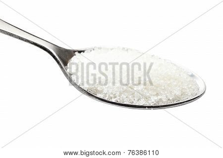 Spoon Of Sugar. Isolated On White.