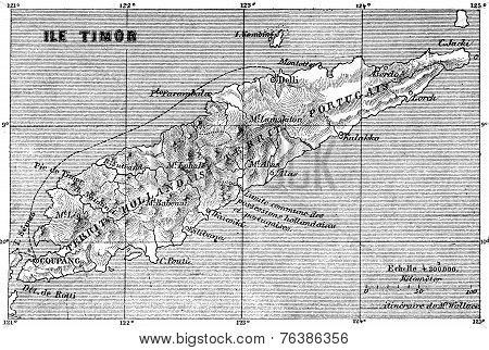 Map Of Timor Island, Vintage Engraving.