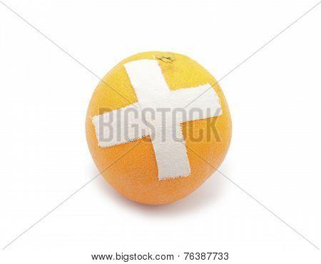 Orange With Sticking Plaster. Medical Concept.