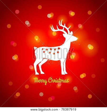 deer on red background