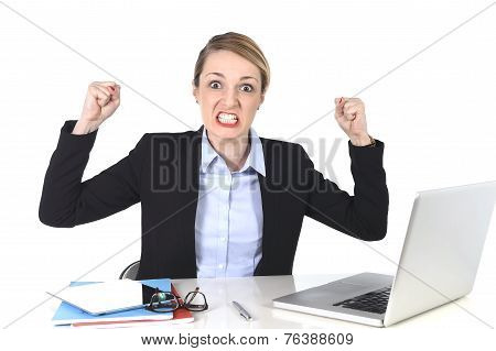 Attractive Businesswoman Frustrated Expression At Office Working