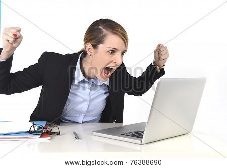 Hectic Businesswoman Excited Working At Computer Laptop On Desk At Work Office In Crazy Happy Face E