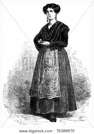 Gallega (galician) In Festive Costume, Vintage Engraving.