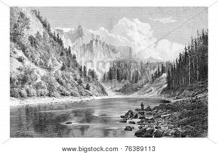 Dunajec Valley Near Szczawnica Town In The Tatras Mountains, Poland, Vintage Engraving
