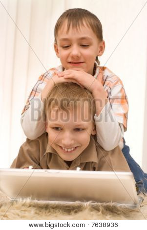 Little Brothers With Laptop