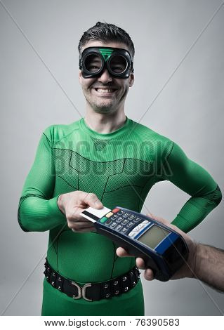 Superhero Shopping With Credit Card