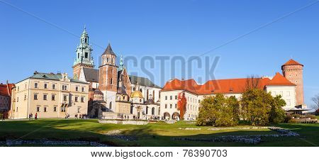Krakow, Poland - November 02: People Visit Royal Wawel Castle In Krakow On November 02, 2014. Krakow