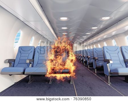 fire in the airplane cabin. 3d creative concept