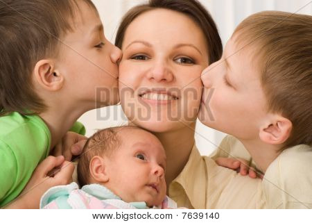 Brothers Kissing  Mom