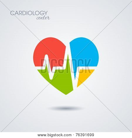 Symbol of cardiology isolated on white background