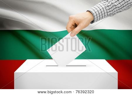 Voting Concept - Ballot Box With National Flag On Background - Bulgaria