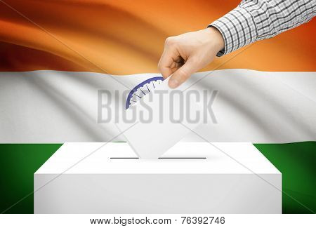 Voting Concept - Ballot Box With National Flag On Background - India