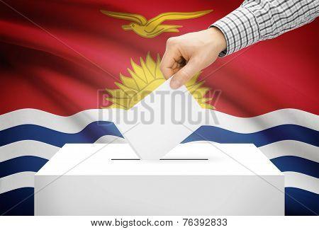 Voting Concept - Ballot Box With National Flag On Background - Kiribati