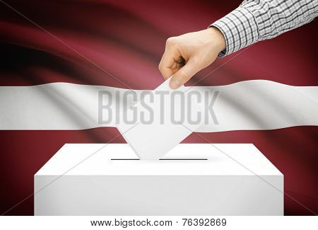 Voting Concept - Ballot Box With National Flag On Background - Latvia