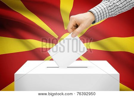 Voting Concept - Ballot Box With National Flag On Background - Republic Of Macedonia