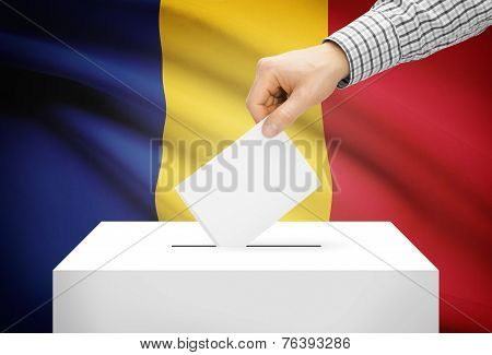 Voting Concept - Ballot Box With National Flag On Background - Romania