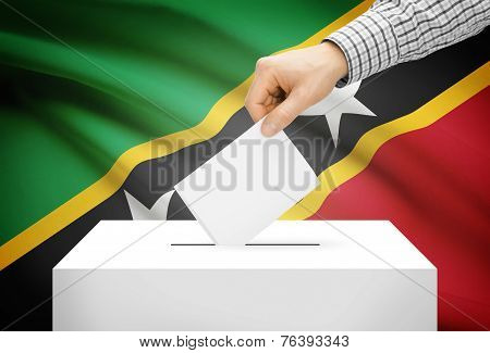 Voting Concept - Ballot Box With National Flag On Background - Saint Kitts And Nevis
