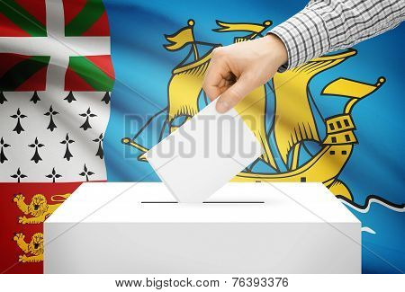 Voting Concept - Ballot Box With National Flag On Background - Saint-pierre And Miquelon