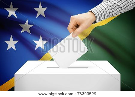 Voting Concept - Ballot Box With National Flag On Background - Solomon Islands
