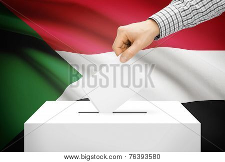 Voting Concept - Ballot Box With National Flag On Background - Sudan