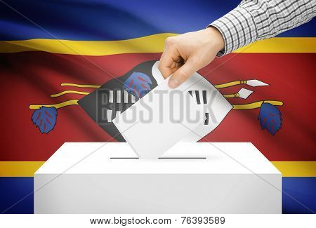 Voting Concept - Ballot Box With National Flag On Background - Swaziland