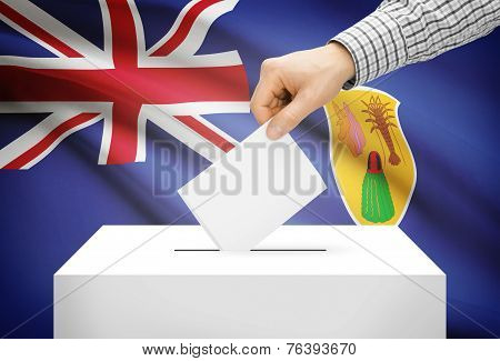 Voting Concept - Ballot Box With National Flag On Background - Turks And Caicos Islands