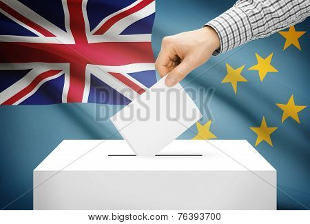Voting Concept - Ballot Box With National Flag On Background - Tuvalu