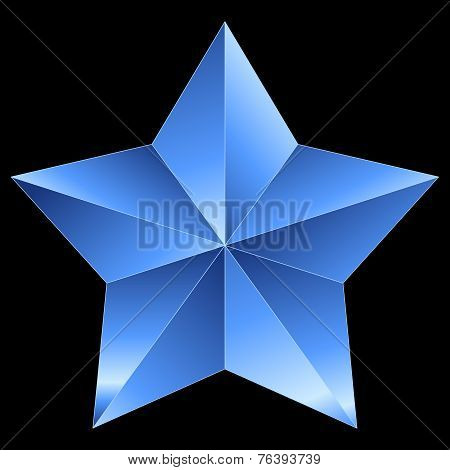 Christmas Star Blue Metal Isolated On Black