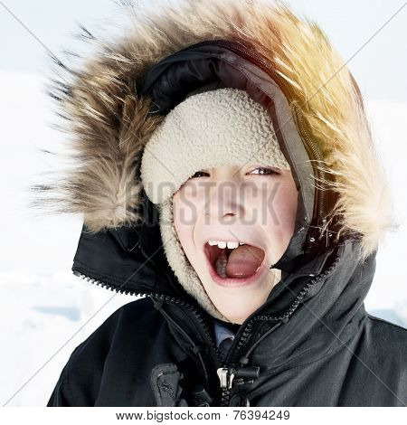 Happy Kid In Winter