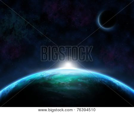 Space scene background with fictional planets