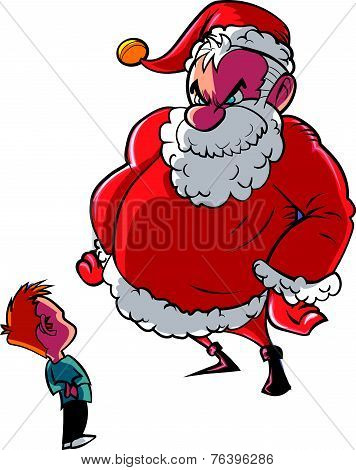 Santa scolding naughty child
