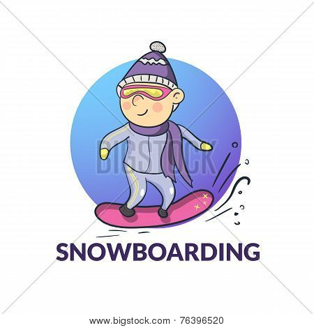 Vector cartoon snowboarder