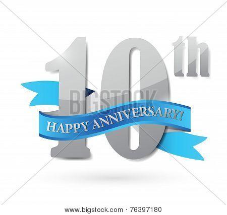 10Th Anniversary Ribbon Sign Illustration