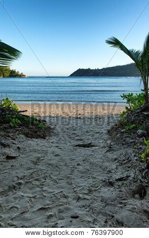 Beautiful Beach Destination for Holiday with Blue Green Sea and White Beach Sand in Port Launay, Mahe, Seychelles.