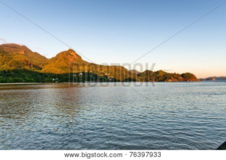 Attractive Mahe Island Seascape with Morne Seychellois View, Emphasizing Tranquility. Captured at Early Morning in Beautiful Seychelles.