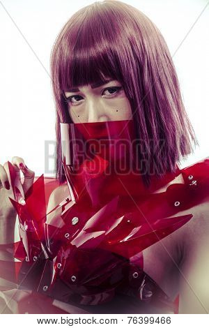 science fiction, Japanese manga-style women dressed in red glass armor