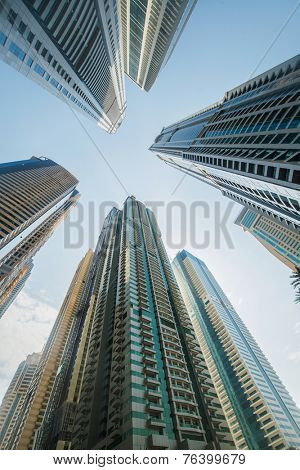 Tall Dubai Marina skyscrapers in UAE