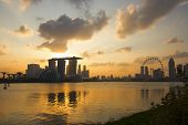stock photo of singapore night  - night time Singapore city skyline for design - JPG