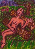 stock photo of nudism  - Acrylic painting of man resting in nature - JPG