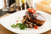 pic of aubergines  - steak with grilled aubergines - JPG