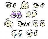 pic of sad eyes  - Cartoon eyes with different expressions looking in different directions for use as design elements - JPG