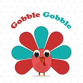 Happy Thanksgiving Day celebrations greeting card design with turkey bird and text Gobble Gobble on  poster