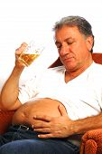 picture of pot-bellied  - happy man with a beer belly - JPG