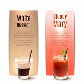 picture of bloody  - White russian and bloody mary cocktails vertical banner set isolated vector illustration - JPG