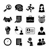 picture of interview  - Job interview black icons set with job search interview recruitment isolated vector illustration - JPG