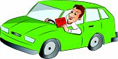 picture of rap  - Vector illustration of happy young man driving car and showing rap sign - JPG
